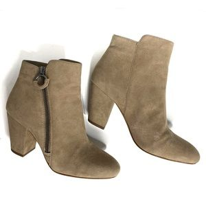 1. State Preete Taupe Suede Heeled Booties